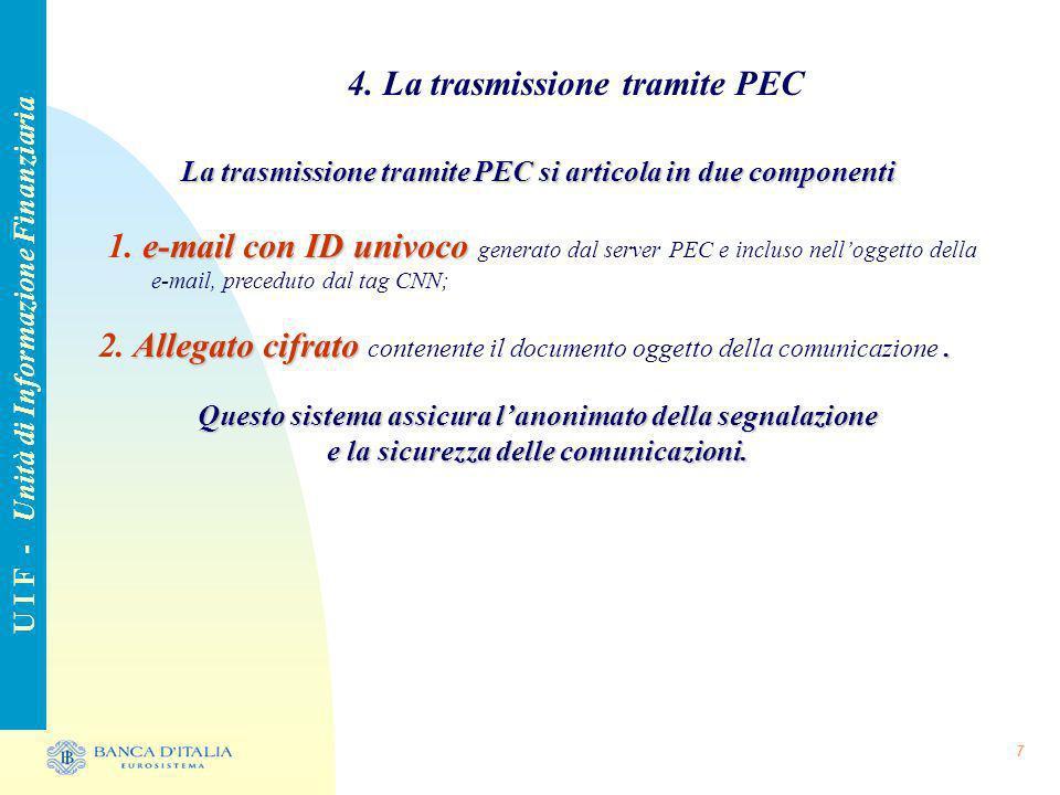 7 4. La trasmissione tramite PEC U I F - Unità di Informazione Finanziaria La trasmissione tramite PEC si articola in due componenti e-mail con ID uni