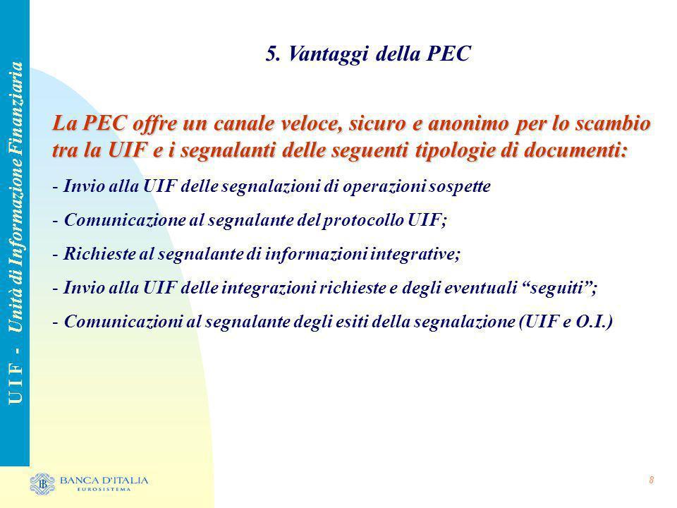 8 5. Vantaggi della PEC U I F - Unità di Informazione Finanziaria La PEC offre un canale veloce, sicuro e anonimo per lo scambio tra la UIF e i segnal