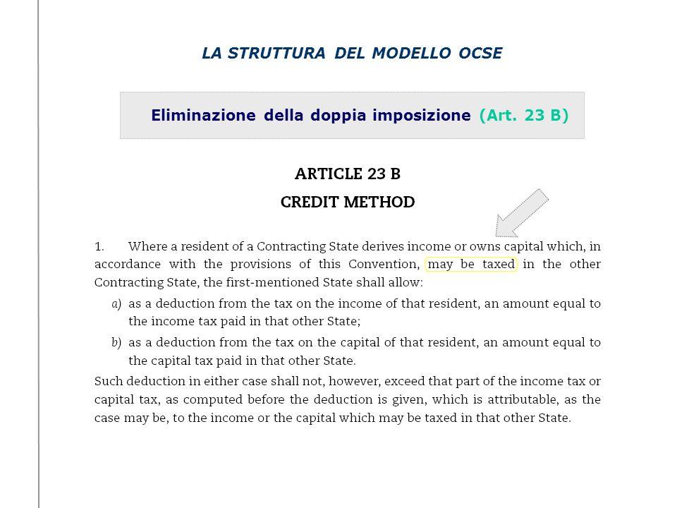 LA STRUTTURA DEL MODELLO OCSE Eliminazione della doppia imposizione (Art. 23 B)