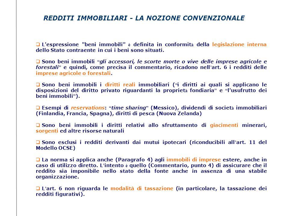 REDDITI IMMOBILIARI - LA NOZIONE CONVENZIONALE L'espressione