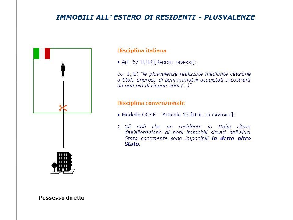 Possesso diretto IMMOBILI ALL ESTERO DI RESIDENTI - PLUSVALENZE Disciplina italiana Art. 67 TUIR [R EDDITI DIVERSI ]: co. 1, b) le plusvalenze realizz