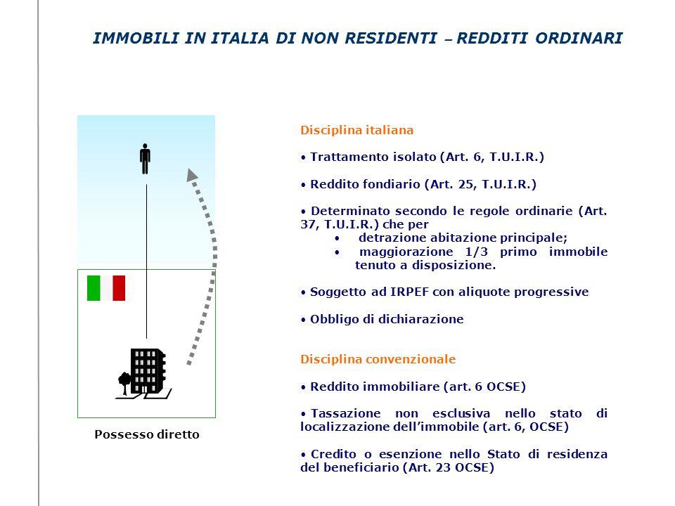 IMMOBILI IN ITALIA DI NON RESIDENTI – REDDITI ORDINARI Possesso diretto Disciplina italiana Trattamento isolato (Art. 6, T.U.I.R.) Reddito fondiario (