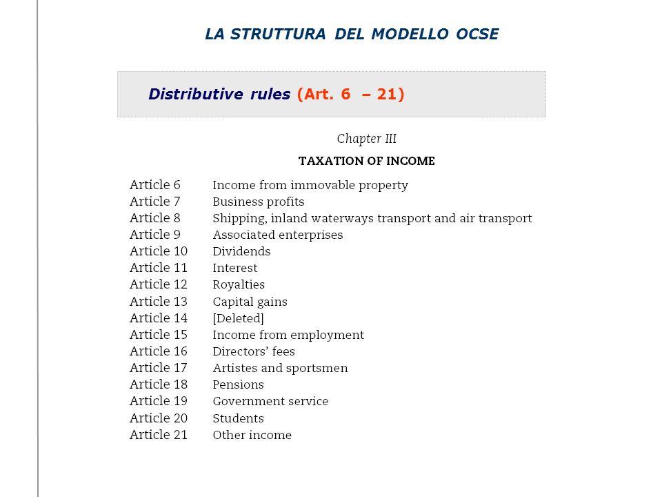CATEGORIE DI REDDITO E DISTRIBUTIVE RULES Utili delle imprese (Art.