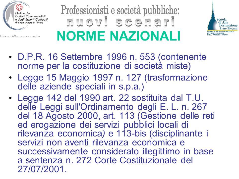 Ente pubblico non economico NORME NAZIONALI D.P.R. 16 Settembre 1996 n. 553 (contenente norme per la costituzione di società miste) Legge 15 Maggio 19
