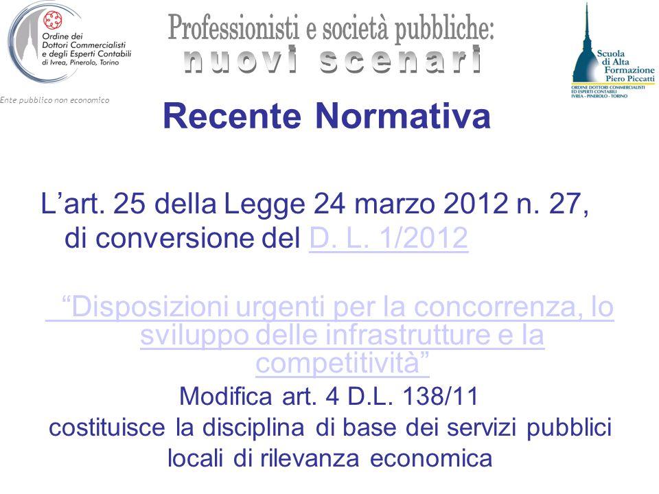 Ente pubblico non economico Recente Normativa Lart. 25 della Legge 24 marzo 2012 n. 27, di conversione del D. L. 1/2012D. L. 1/2012 Disposizioni urgen