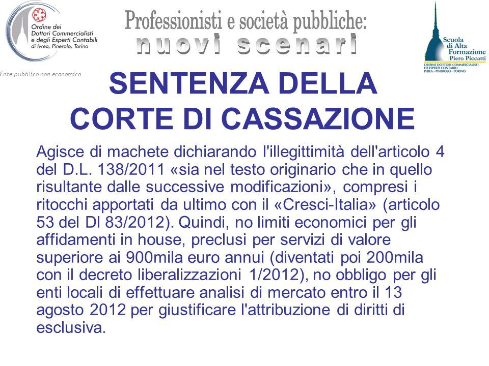 Ente pubblico non economico SENTENZA DELLA CORTE DI CASSAZIONE Agisce di machete dichiarando l'illegittimità dell'articolo 4 del D.L. 138/2011 «sia ne
