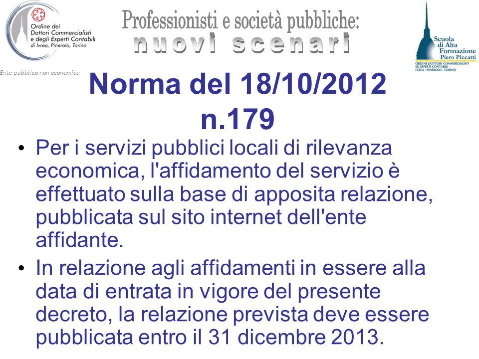 Ente pubblico non economico Norma del 18/10/2012 n.179 Per i servizi pubblici locali di rilevanza economica, l'affidamento del servizio è effettuato s