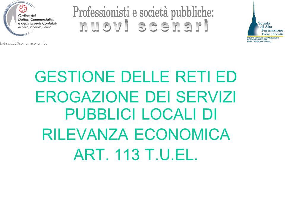 Ente pubblico non economico GESTIONE DELLE RETI ED EROGAZIONE DEI SERVIZI PUBBLICI LOCALI DI RILEVANZA ECONOMICA ART. 113 T.U.EL.