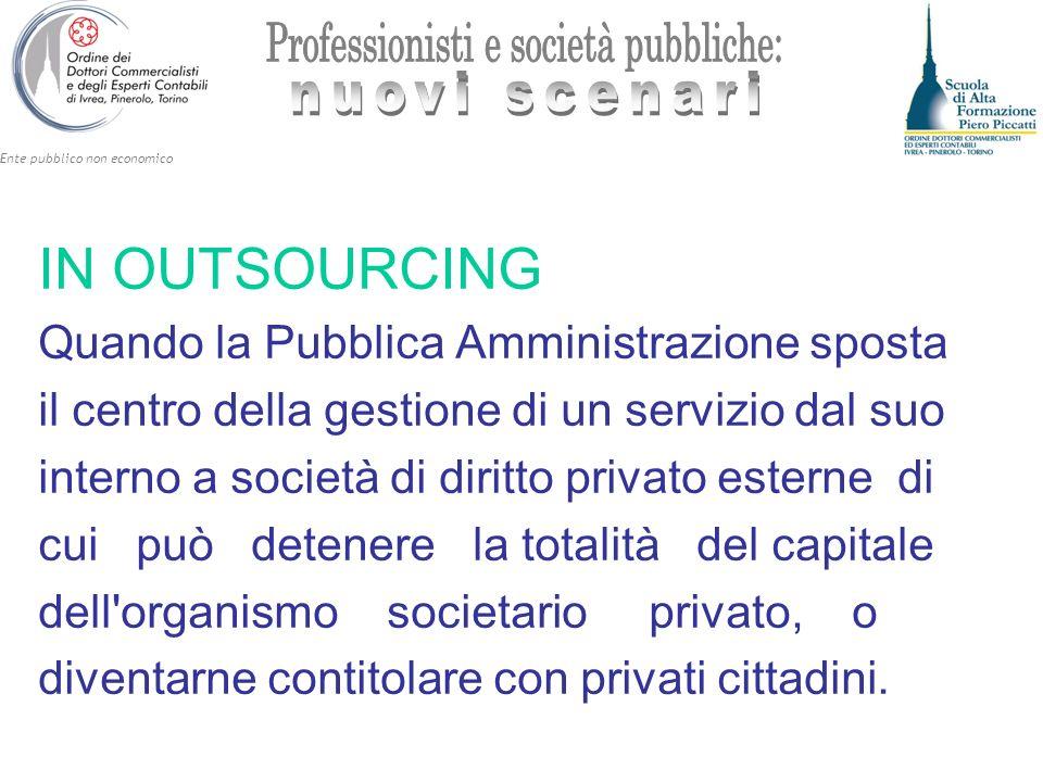 Ente pubblico non economico IN OUTSOURCING Quando la Pubblica Amministrazione sposta il centro della gestione di un servizio dal suo interno a società