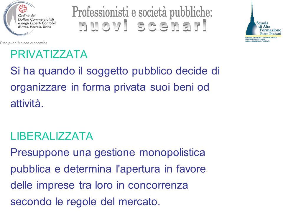 Ente pubblico non economico GESTIONE DELLE RETI ED EROGAZIONE DEI SERVIZI PUBBLICI LOCALI DI RILEVANZA ECONOMICA ART.