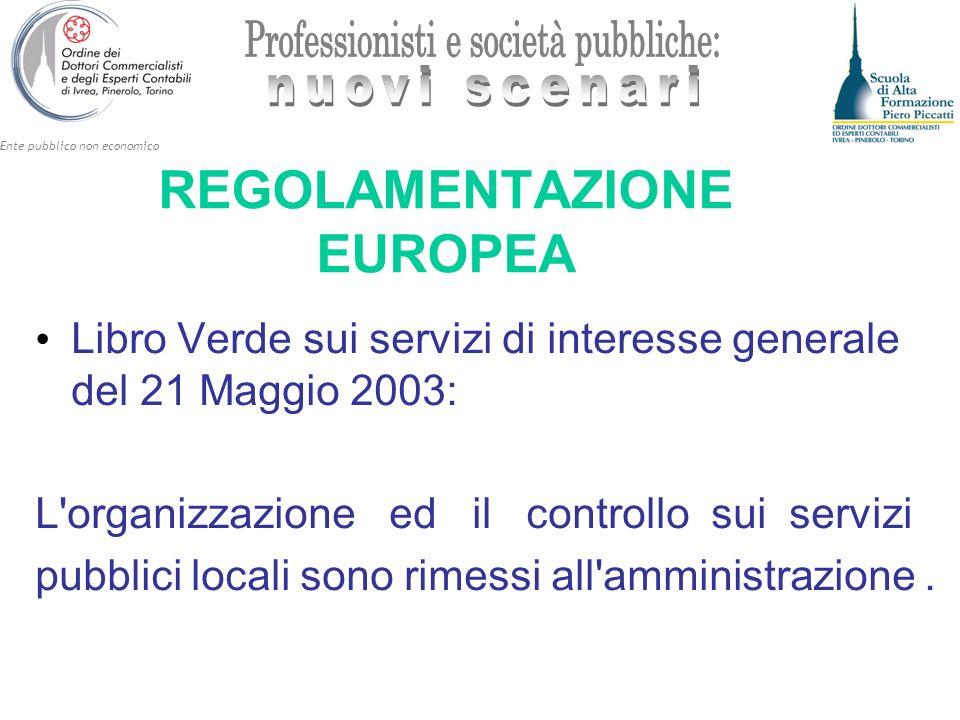 Ente pubblico non economico REGOLAMENTAZIONE EUROPEA Libro Verde sui servizi di interesse generale del 21 Maggio 2003: L'organizzazione ed il controll