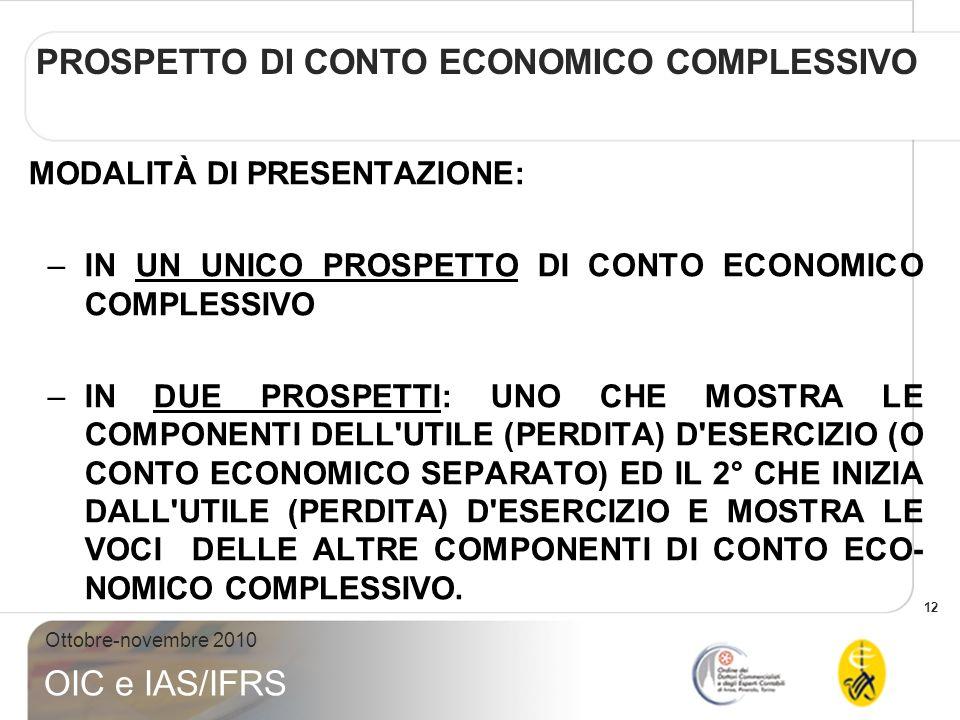 13 Ottobre-novembre 2010 OIC e IAS/IFRS PROSPETTO DI CONTO ECONOMICO COMPLESSIVO MODALITÀ DI CLASSIFICAZIONE DEI COSTI NEL PROSPETTO DELLUTILE (PERDITA) DESERCI- ZIO (O CONTO ECONOMICO SEPARATO) 1.PER NATURA 2.PER DESTINAZIONE