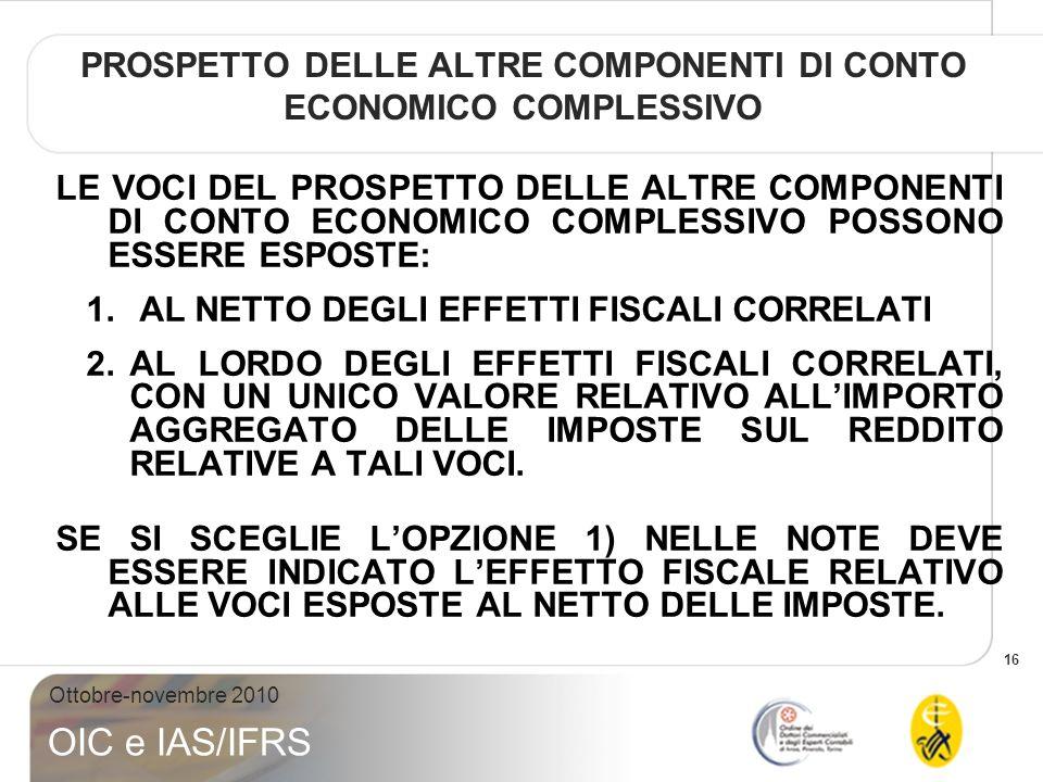 17 Ottobre-novembre 2010 OIC e IAS/IFRS PROSPETTO DELLE ALTRE COMPONENTI DI CONTO ECONOMICO COMPLESSIVO
