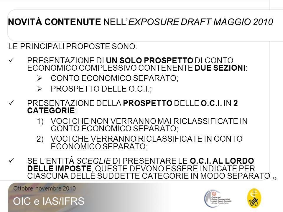33 Ottobre-novembre 2010 OIC e IAS/IFRS NOVITÀ CONTENUTE EXPOSURE DRAFT MAGGIO 2010 ESEMPIO PROSPETTO O.C.I.