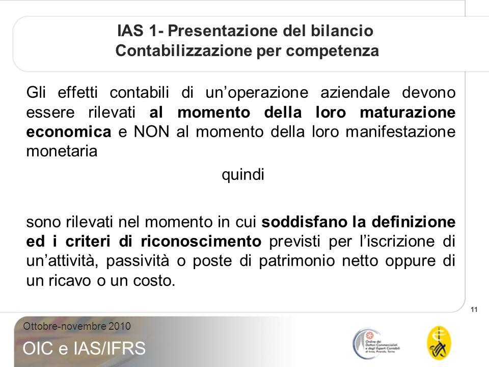 11 Ottobre-novembre 2010 OIC e IAS/IFRS IAS 1- Presentazione del bilancio Contabilizzazione per competenza Gli effetti contabili di unoperazione azien