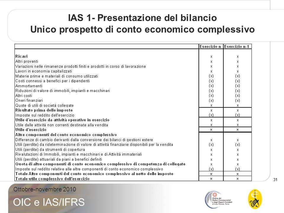 31 Ottobre-novembre 2010 OIC e IAS/IFRS IAS 1- Presentazione del bilancio Unico prospetto di conto economico complessivo