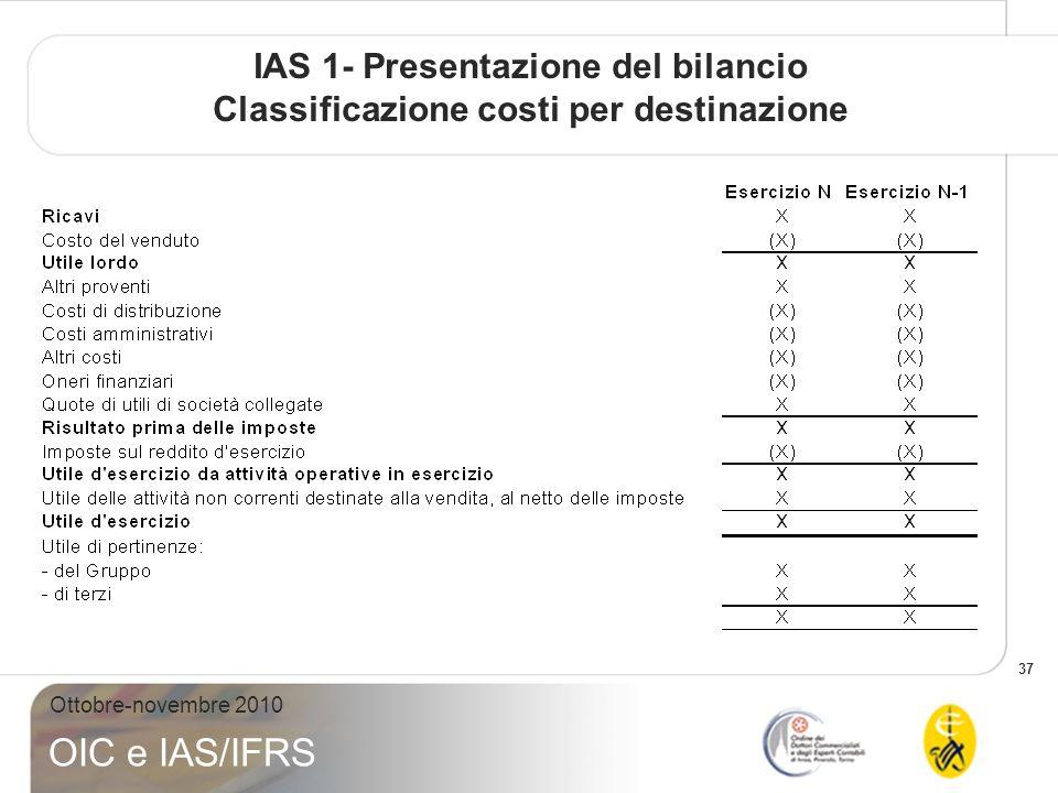 37 Ottobre-novembre 2010 OIC e IAS/IFRS IAS 1- Presentazione del bilancio Classificazione costi per destinazione