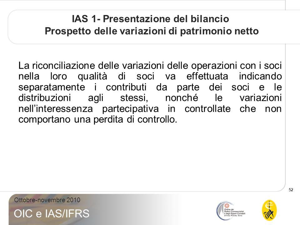 52 Ottobre-novembre 2010 OIC e IAS/IFRS IAS 1- Presentazione del bilancio Prospetto delle variazioni di patrimonio netto La riconciliazione delle vari