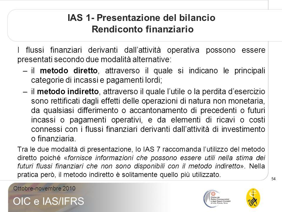 54 Ottobre-novembre 2010 OIC e IAS/IFRS IAS 1- Presentazione del bilancio Rendiconto finanziario I flussi finanziari derivanti dallattività operativa