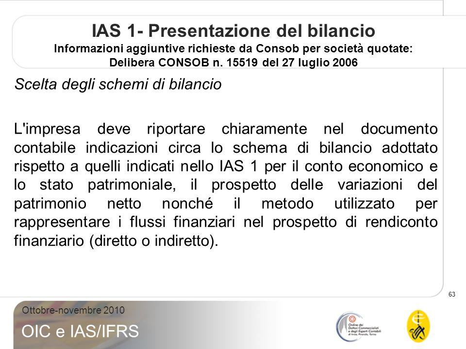 63 Ottobre-novembre 2010 OIC e IAS/IFRS IAS 1- Presentazione del bilancio Informazioni aggiuntive richieste da Consob per società quotate: Delibera CONSOB n.