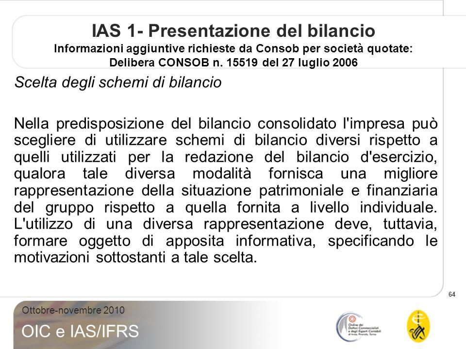 64 Ottobre-novembre 2010 OIC e IAS/IFRS IAS 1- Presentazione del bilancio Informazioni aggiuntive richieste da Consob per società quotate: Delibera CONSOB n.