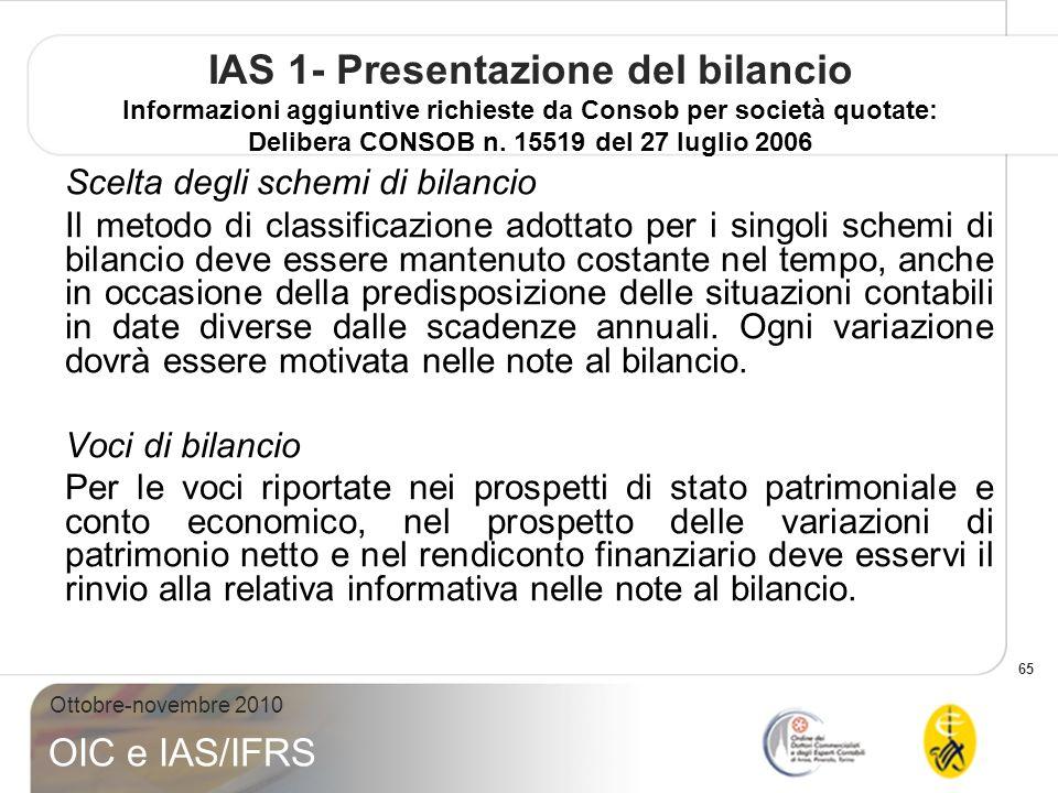 65 Ottobre-novembre 2010 OIC e IAS/IFRS IAS 1- Presentazione del bilancio Informazioni aggiuntive richieste da Consob per società quotate: Delibera CONSOB n.