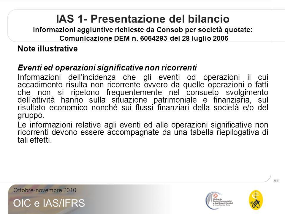 68 Ottobre-novembre 2010 OIC e IAS/IFRS IAS 1- Presentazione del bilancio Informazioni aggiuntive richieste da Consob per società quotate: Comunicazione DEM n.
