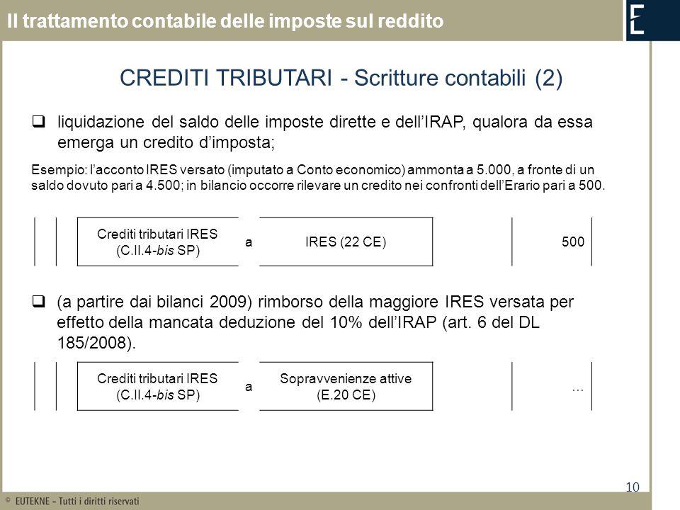 10 Il trattamento contabile delle imposte sul reddito CREDITI TRIBUTARI - Scritture contabili (2) liquidazione del saldo delle imposte dirette e dellI