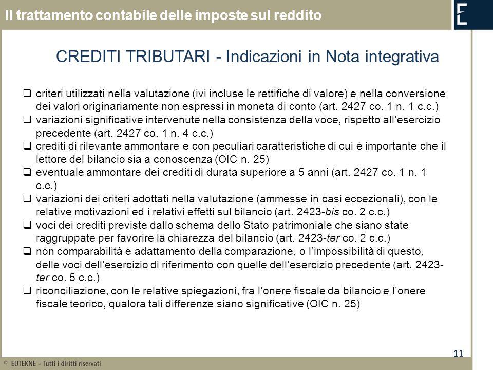 11 Il trattamento contabile delle imposte sul reddito CREDITI TRIBUTARI - Indicazioni in Nota integrativa criteri utilizzati nella valutazione (ivi in