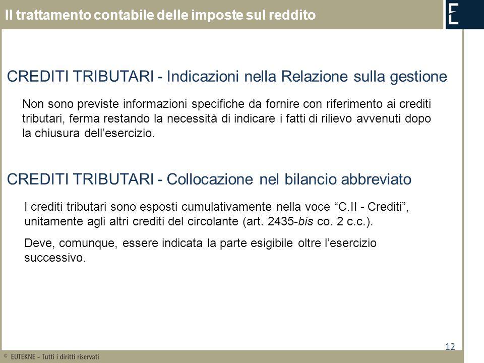 12 Il trattamento contabile delle imposte sul reddito CREDITI TRIBUTARI - Indicazioni nella Relazione sulla gestione Non sono previste informazioni sp