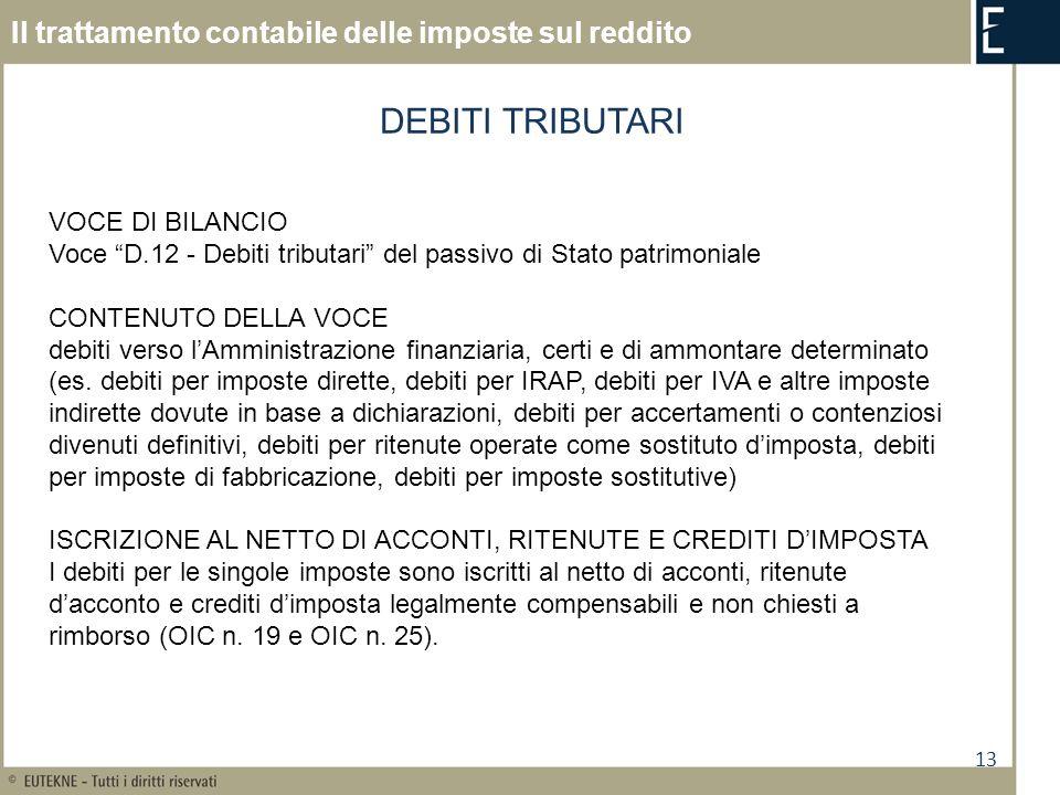 13 Il trattamento contabile delle imposte sul reddito DEBITI TRIBUTARI VOCE DI BILANCIO Voce D.12 - Debiti tributari del passivo di Stato patrimoniale