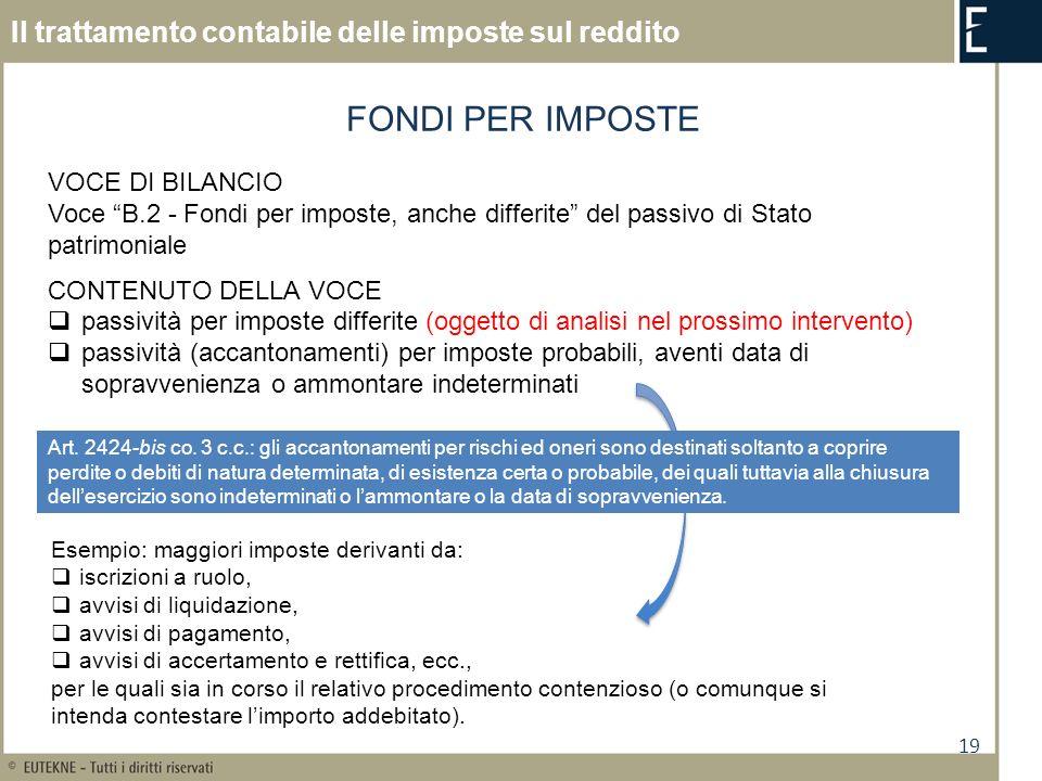 19 Il trattamento contabile delle imposte sul reddito FONDI PER IMPOSTE VOCE DI BILANCIO Voce B.2 - Fondi per imposte, anche differite del passivo di