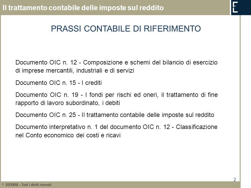 2 Il trattamento contabile delle imposte sul reddito Documento OIC n. 12 - Composizione e schemi del bilancio di esercizio di imprese mercantili, indu
