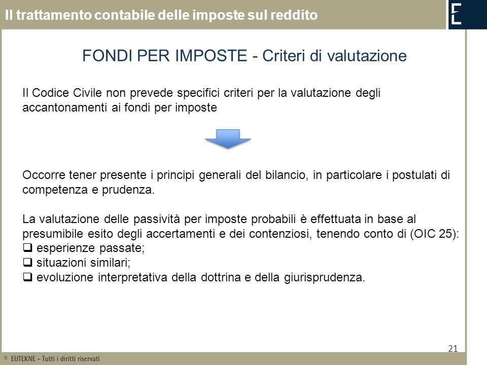 21 Il trattamento contabile delle imposte sul reddito FONDI PER IMPOSTE - Criteri di valutazione Il Codice Civile non prevede specifici criteri per la
