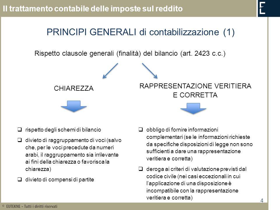 4 Il trattamento contabile delle imposte sul reddito Rispetto clausole generali (finalità) del bilancio (art. 2423 c.c.) PRINCIPI GENERALI di contabil