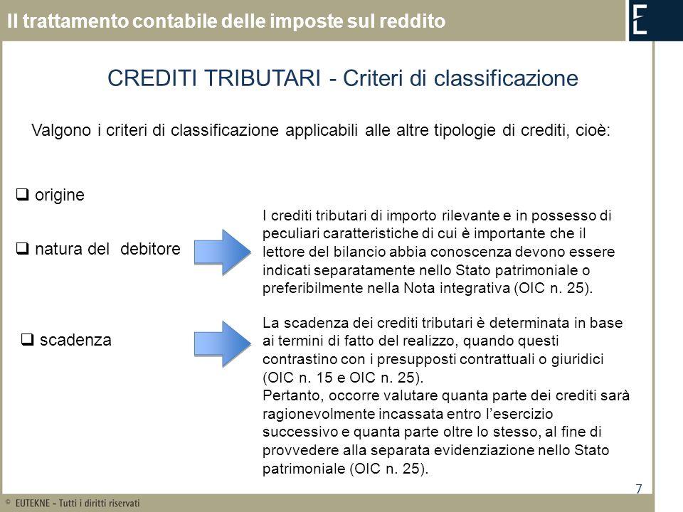 8 Il trattamento contabile delle imposte sul reddito CREDITI TRIBUTARI - Criteri di valutazione Il Codice Civile non prevede specifici criteri per la valutazione dei crediti tributari Iscrizione al valore presumibile di realizzazione (art.