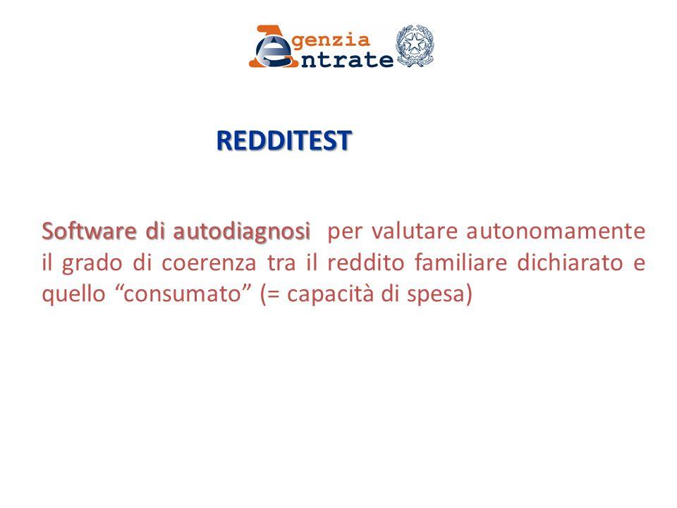 REDDITEST REDDITEST Software di autodiagnosi Software di autodiagnosi per valutare autonomamente il grado di coerenza tra il reddito familiare dichiarato e quello consumato (= capacità di spesa)