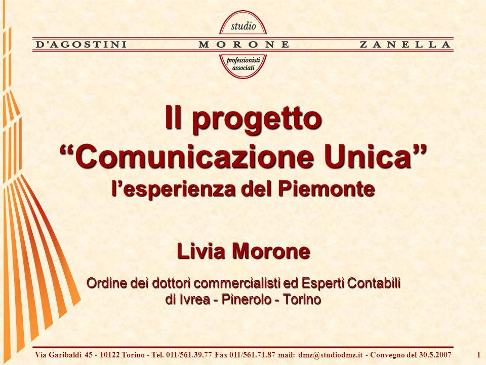 Via Garibaldi 45 - 10122 Torino - Tel. 011/561.39.77 Fax 011/561.71.87 mail: dmz@studiodmz.it - Convegno del 30.5.20071 Il progetto Comunicazione Unic