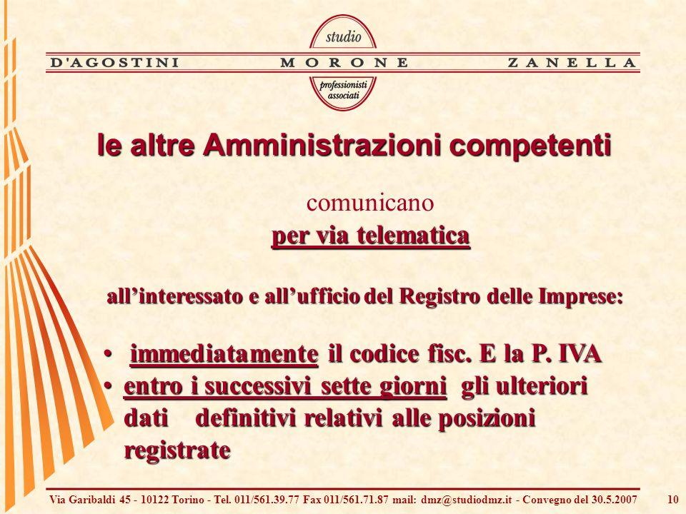 Via Garibaldi 45 - 10122 Torino - Tel. 011/561.39.77 Fax 011/561.71.87 mail: dmz@studiodmz.it - Convegno del 30.5.200710 comunicano per via telematica