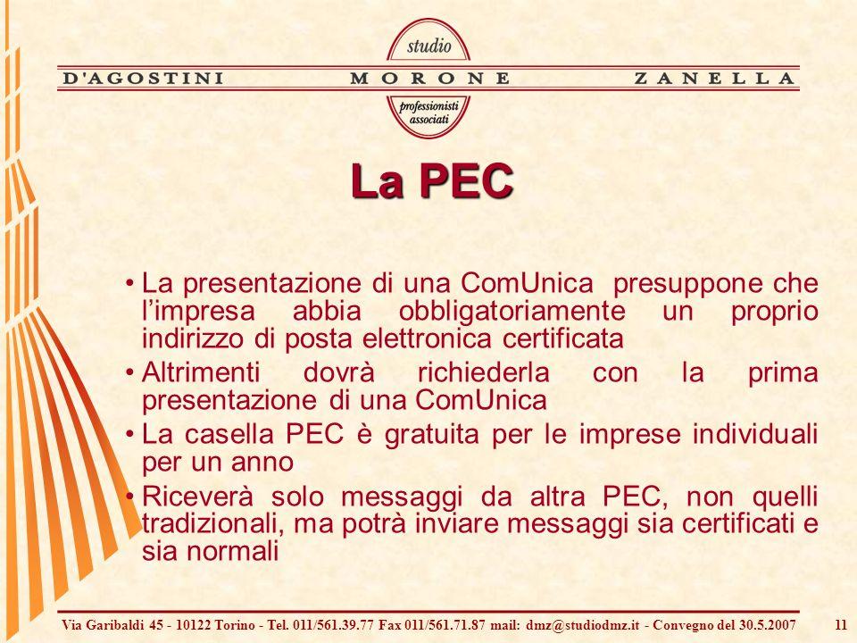 Via Garibaldi 45 - 10122 Torino - Tel. 011/561.39.77 Fax 011/561.71.87 mail: dmz@studiodmz.it - Convegno del 30.5.200711 La PEC La presentazione di un