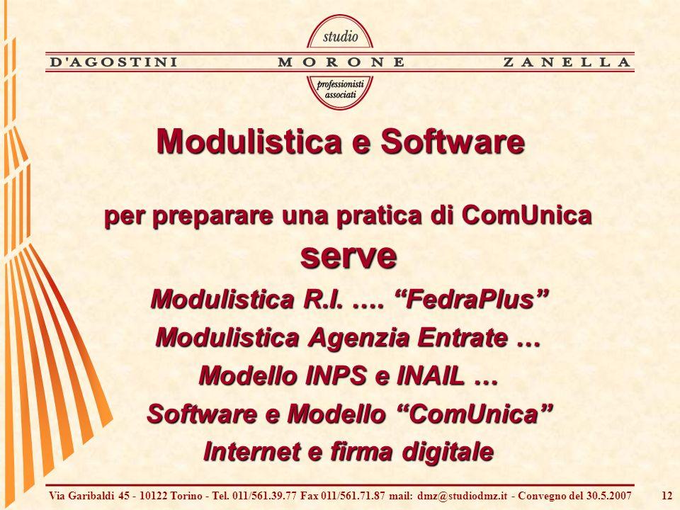 Via Garibaldi 45 - 10122 Torino - Tel. 011/561.39.77 Fax 011/561.71.87 mail: dmz@studiodmz.it - Convegno del 30.5.200712 Modulistica e Software per pr