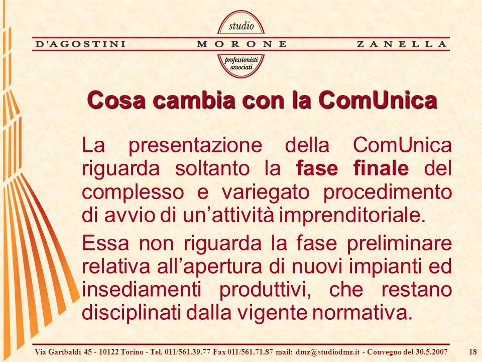Via Garibaldi 45 - 10122 Torino - Tel. 011/561.39.77 Fax 011/561.71.87 mail: dmz@studiodmz.it - Convegno del 30.5.200718 Cosa cambia con la ComUnica L