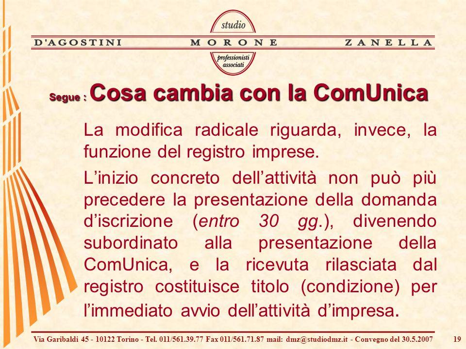 Via Garibaldi 45 - 10122 Torino - Tel. 011/561.39.77 Fax 011/561.71.87 mail: dmz@studiodmz.it - Convegno del 30.5.200719 Segue : Cosa cambia con la Co