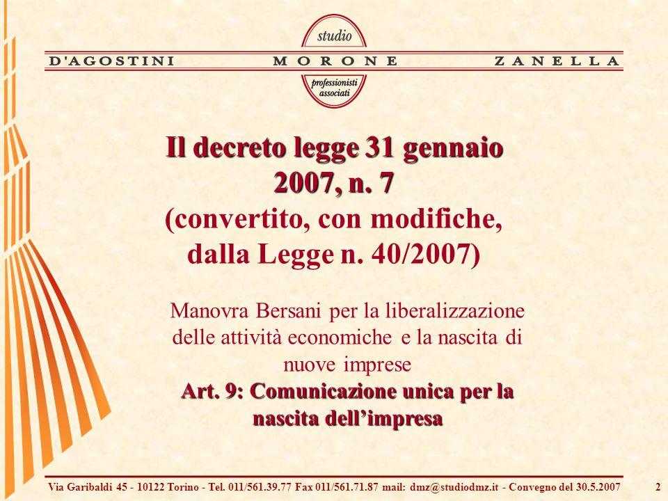 Via Garibaldi 45 - 10122 Torino - Tel. 011/561.39.77 Fax 011/561.71.87 mail: dmz@studiodmz.it - Convegno del 30.5.20072 Manovra Bersani per la liberal