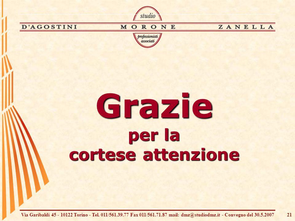 Via Garibaldi 45 - 10122 Torino - Tel. 011/561.39.77 Fax 011/561.71.87 mail: dmz@studiodmz.it - Convegno del 30.5.200721 Grazie per la cortese attenzi