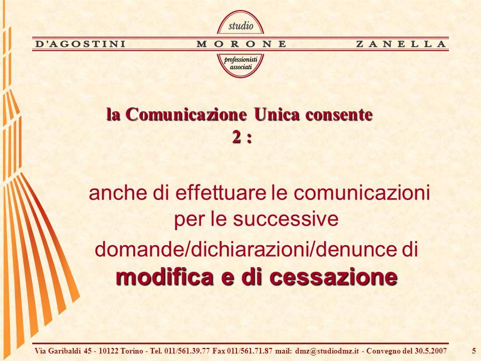 Via Garibaldi 45 - 10122 Torino - Tel. 011/561.39.77 Fax 011/561.71.87 mail: dmz@studiodmz.it - Convegno del 30.5.20075 anche di effettuare le comunic