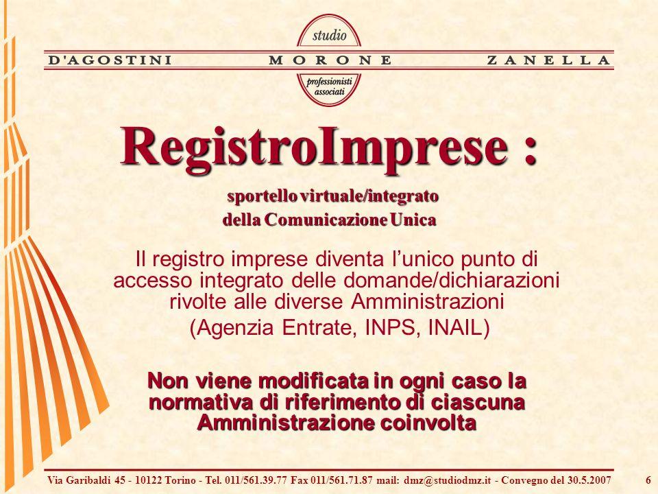 Via Garibaldi 45 - 10122 Torino - Tel. 011/561.39.77 Fax 011/561.71.87 mail: dmz@studiodmz.it - Convegno del 30.5.20076 Il registro imprese diventa lu
