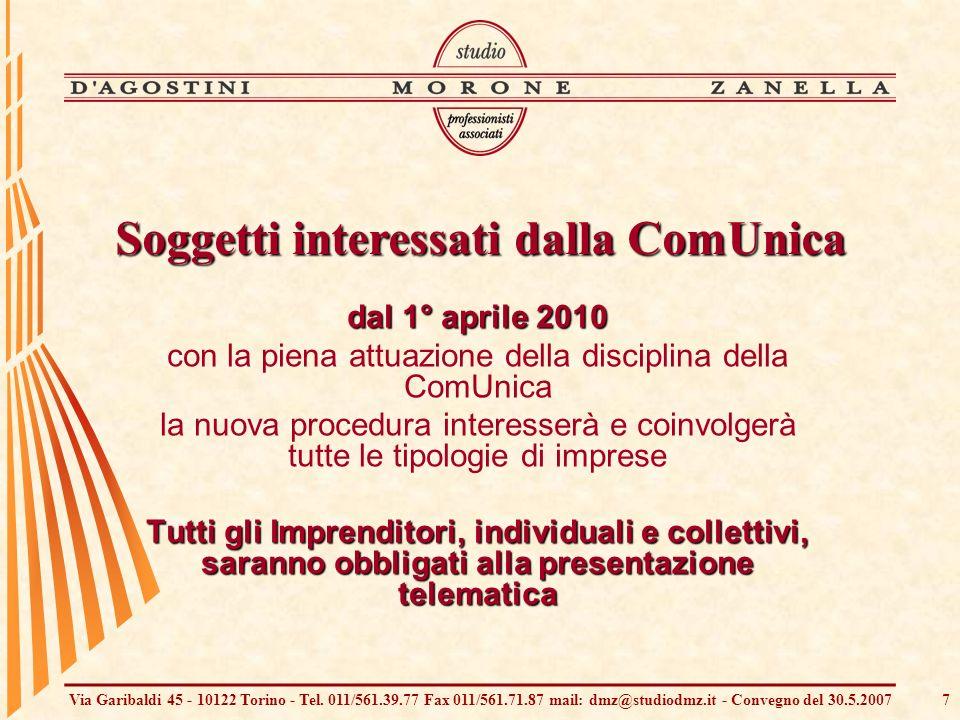Via Garibaldi 45 - 10122 Torino - Tel. 011/561.39.77 Fax 011/561.71.87 mail: dmz@studiodmz.it - Convegno del 30.5.20077 dal 1° aprile 2010 con la pien