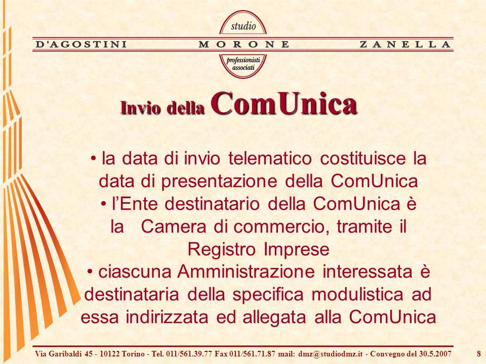 Via Garibaldi 45 - 10122 Torino - Tel. 011/561.39.77 Fax 011/561.71.87 mail: dmz@studiodmz.it - Convegno del 30.5.20078 la data di invio telematico co