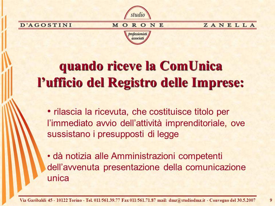 Via Garibaldi 45 - 10122 Torino - Tel. 011/561.39.77 Fax 011/561.71.87 mail: dmz@studiodmz.it - Convegno del 30.5.20079 rilascia la ricevuta, che cost